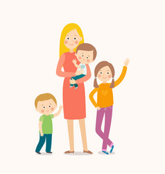 Young mother standing with her three children vector
