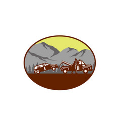 car being towed away mountains oval woodcut vector image vector image