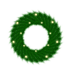 Green christmas wreath with incandescent light vector