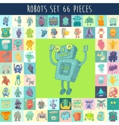 Robots Set Hand Drawing vector image vector image