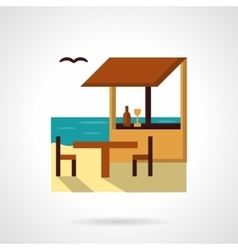 Sea cafe flat color design icon vector image vector image