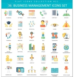 Business management color flat icon set vector image vector image