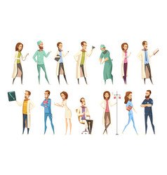 nurse characters set cartoon retro style vector image vector image