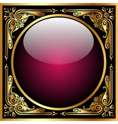 Abstract background with glass ball and golden pat vector image vector image