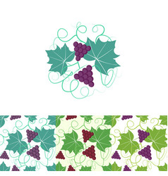 grape circle logo and seamless pattern vector image vector image