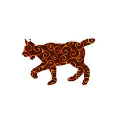 lynx wildlife color silhouette animal vector image vector image