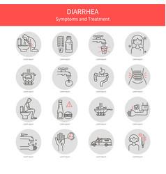 set diarrhea icons vector image vector image