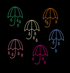 umbrella and rain drops icons collection of 6 vector image vector image