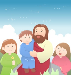 Jesus Christ with Kids Cartoon vector image vector image