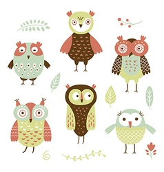 owls flat style vector image vector image