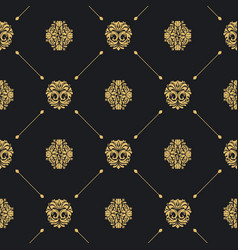 royal baroque seamless black pattern vector image vector image