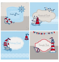 Set of Nautical Sea Cards vector image vector image