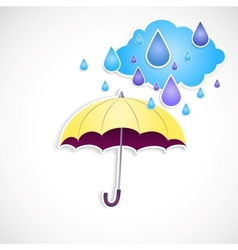 yellow umbrella and rain isolated vector image vector image