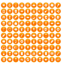 100 cafe icons set orange vector
