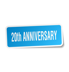 20th anniversary square sticker on white vector