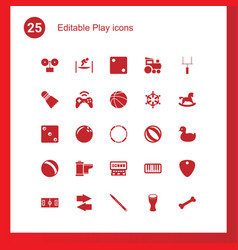 25 play icons vector