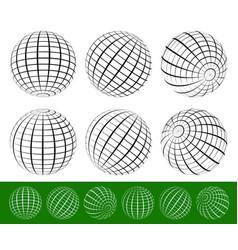 3d wire-frame gridded spheres set vector