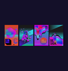 Abstract background holographic poster template vector