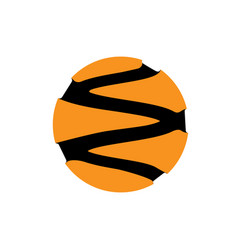 Abstract circle logotype orange from black vector