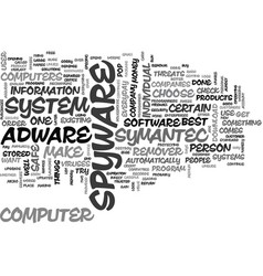 Adware spyware removal text word cloud concept vector