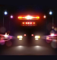 ambulance in night composition vector image