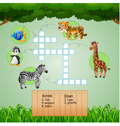 animal crossword puzzles for kids games vector image
