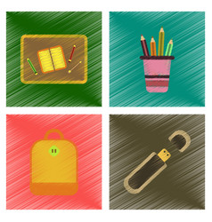 Assembly flat shading style icons education school vector