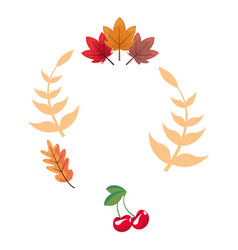 autumn leaves branch cherries vector image