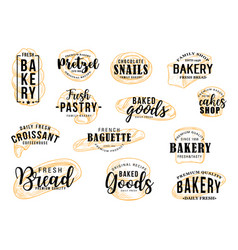 Bakery shop bread and patisserie pastry lettering vector