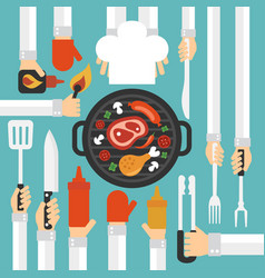 barbecue and grill concept design flat vector image