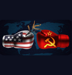 boxing gloves with prints of irish and russian vector image