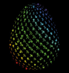 bright mesh 2d abstract aviation egg with light vector image