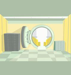 cartoon color bank vault inside interior vector image