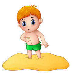 Cartoon little boy playing a sand vector