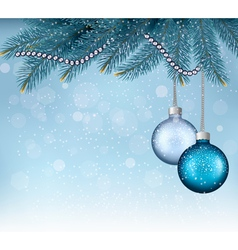 Christmas background with balls and branches vector image