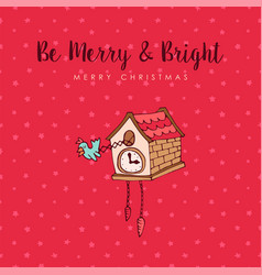 Christmas cuckoo clock cute cartoon greeting card vector