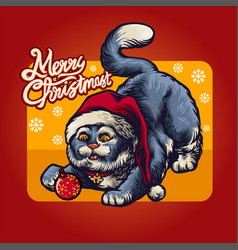 christmas cute cat at red santas hat holiday vector image