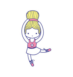 Colorful girl dancing ballet with hair bun vector