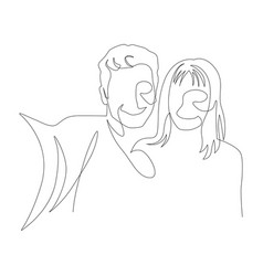 continuous one line selfie a couple in love vector image