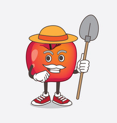 crab apple cartoon mascot character with hat vector image