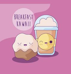 Cupcake with coffee milkshake for breakfast kawaii vector