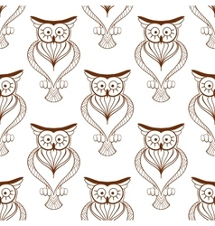 Cute owls retro seamless pattern vector image