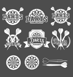 Darts labels set badge logos vector