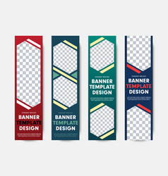 design of vertical web banners with different vector image
