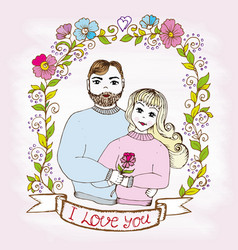 doodle postcard man and woman love in floral frame vector image