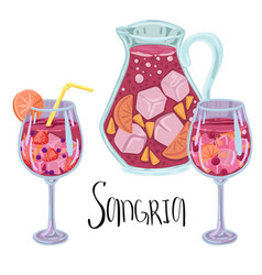 Drink sangria in countess and fougeres wine vector