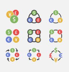 Exchange dollar euro yen and pound icon set vector