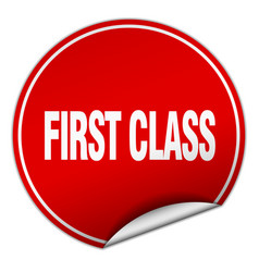 First class round red sticker isolated on white vector