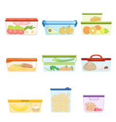 Flat set of plastic containers with food vector