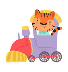 Funny striped tiger riding on train vector